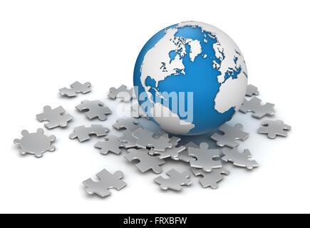Globe and Puzzle Piece , This is a computer generated and 3d rendered picture. - Stock Photo