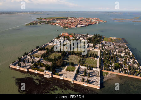 Aerial view of the island cemetery of San Michele, cemetery and grave yard of Venice, Burano in the background, - Stock Photo
