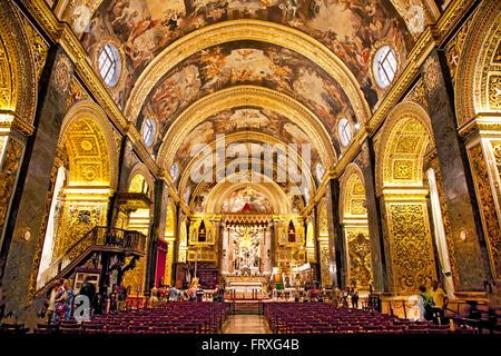 Interior of St. Johns Co-Cathedral, Valletta, Malta - Stock Photo