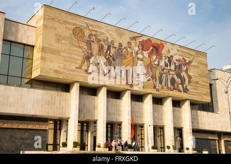Exterior of National History Museum near Skanderbeg Square, Tirana, Albania - Stock Photo