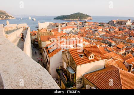 View over roofs to Elaphites, Dubrovnic, Croatia - Stock Photo