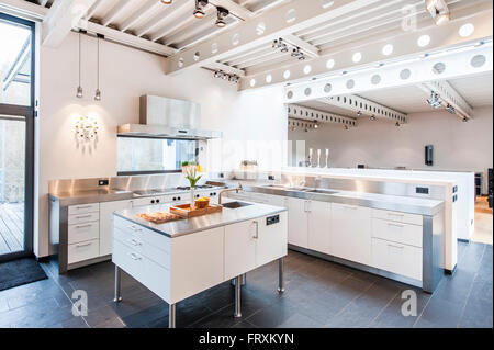 Open Plan Kitchen Inside A Bauhaus Villa, Sauerland, Germany Stock
