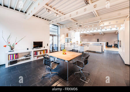 open plan kitchen inside a bauhaus villa sauerland germany stock photo - Villa Sauerland