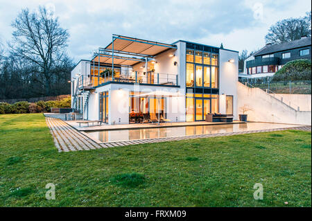 Bauhaus Villa At Dusk, Sauerland, Germany Stock Photo, Royalty
