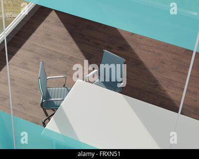 Office with desk and two tables seen from above, 3D Rendering - Stock Photo