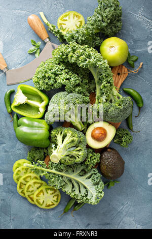 Variety of green vegetables - Stock Photo