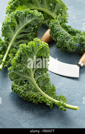 Fresh kale leaves on the table - Stock Photo