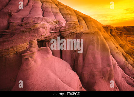 Hoodoos In Badlands at Sunset, Red Deer River Valley Near Drumheller, Alberta, Canada - Stock Photo