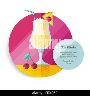 Pina colada cocktail drink recipe for party or summer vacation with ingredients text and colorful flat art fruit - Stock Photo