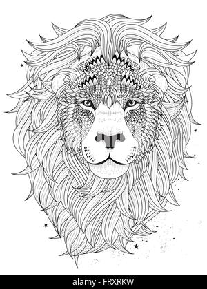 attractive lion head coloring page design in ethnic style Stock ...