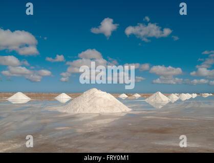 Salt works at the salt marshes of Sabkhat Tazra in the Khenifiss National Park near the coast of the Atlantic Ocean - Stock Photo