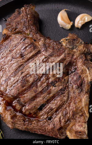 Top view of grilled rare rib steak - Stock Photo