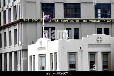 Wellington. 24th Mar, 2016. Photo taken on March 24, 2016 shows New Zealand's current national flag at a stock exchange - Stock Photo