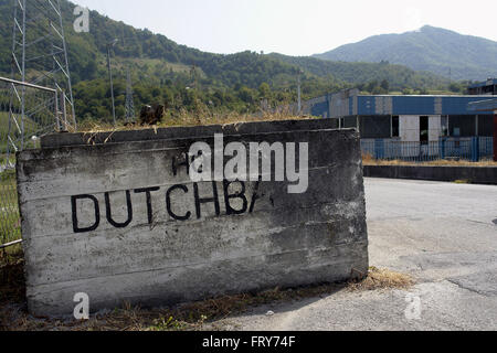 Dutchbat compound on the opposite of the Potocari Memorial Center near Srebrenica ,the cemetery of identified Bosniak - Stock Photo