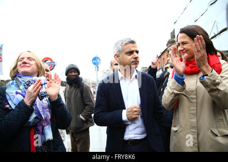 Tottenham, London, UK. 24th March, 2016. Sadiq Khan, Labour candidate for Mayor of London joins Joanne McCartney, - Stock Photo