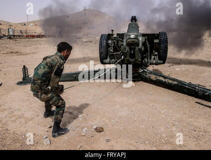 Palmyra, Syria. 24th March, 2016. An artillery gun near the town of Palmyra. Syrian government troops are storming - Stock Photo