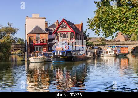 Boats At Folly Bridge Oxford UK - Stock Photo