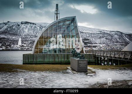 Polar explorer ship Polstjerna at Polaria museum, Tromso, Norway. - Stock Photo
