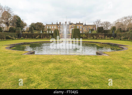 View from the Italianate gardens on the swimming pool and Renishaw Hall, a stately home, Eckington, in Derbyshire, - Stock Photo