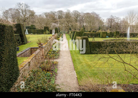 The Italianate gardens at Renishaw Hall, a 17th century stately home, Eckington, in Derbyshire, England, United - Stock Photo