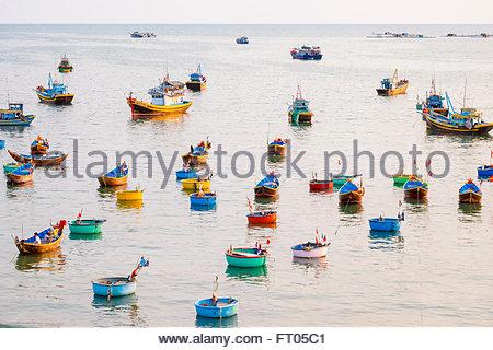 Fishing boats in harbor at Mui Ne, Phan Thiet, Binh Thuan Province, Vietnam - Stock Photo
