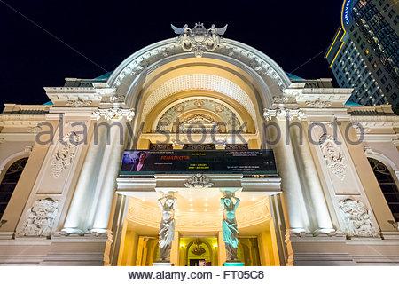 Saigon Opera House (Municipal Theatre) at night, Ho Chi Minh City (Saigon), Vietnam - Stock Photo