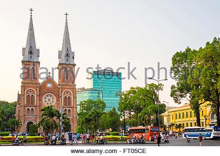 Saigon Notre-Dame Basilica cathedral, Ho Chi Minh City (Saigon), Vietnam - Stock Photo