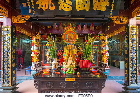 Quan Am Pagoda (Chua Quan Am) Buddhist temple interior, Cho Lon district, Ho Chi Minh City (Saigon), Vietnam - Stock Photo