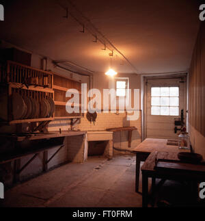 ... Large pine plate rack on wall in Victorian kitchen - Stock Photo & The sink and plate rack in the Kitchen at Coleton Fishacre Devon ...