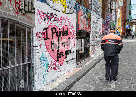 Hosier lane in Melbourne is famous for its graffiti and street art - Stock Photo