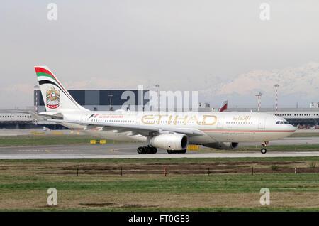 A6-EYO Etihad Airways Airbus A330-243 at Milan, Malpensa - Stock Photo