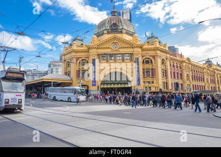 Flinders Street Station is a famous landmark in Melbourne. - Stock Photo