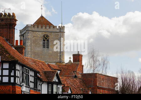 The tower  of Dorchester Abbey Church of St Peter & St Paul, Dorchester-on-Thames, Oxfordshire, England - Stock Photo