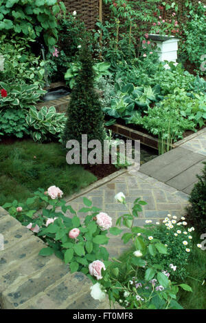 Pink Roses And Pyramid Box In A Formal Potager Garden With Brick Paths White