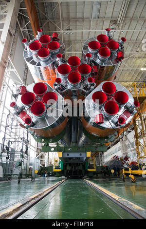 The Soyuz rocket and Soyuz TMA-20M spacecraft is assembled Tuesday, March 15, 2016 at the Baikonur Cosmodrome in - Stock Photo
