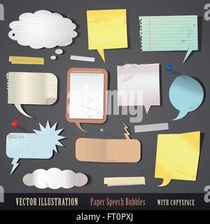 vector illustration set of textured paper speech bubbles - Stock Photo