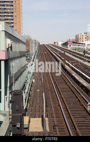 Old elevated subway train tracks in the Bronx, New York City. - Stock Photo