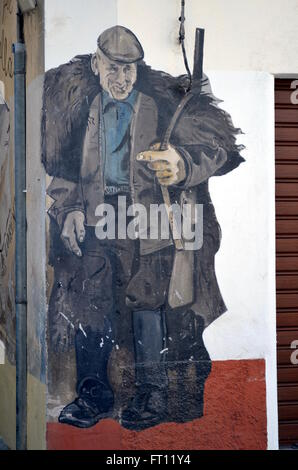 ORGOSOLO ITALY 4 October 2015 Murales in Orgosolo Italy Since about 1969 the wall paintings reflect different aspects - Stock Photo