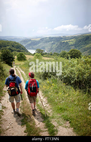Hikers passing a path crossing a meadow, Rhineland-Palatinate, Germany - Stock Photo