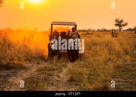 Safari jeep with wildlife guide-spotter on a game drive at sunset, Sandibe Camp, by the Moremi Game Reserve, Okavango - Stock Photo