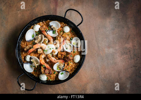 seafood and rice paella traditional famous spanish food - Stock Photo