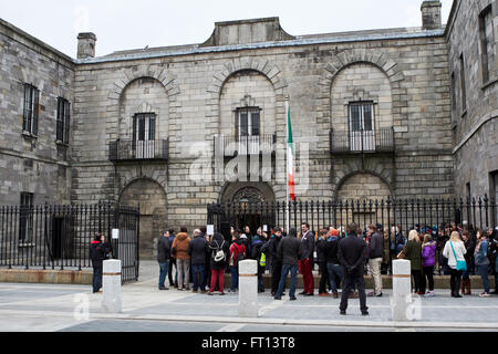 tourists queue outside the entrance to kilmainham gaol dublin Ireland - Stock Photo