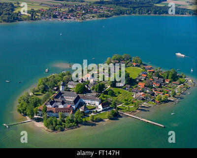 Aerial shot of Fraueninsel with Gstadt am Chiemsee in background, lake Chiemsee, Bavaria, Germany - Stock Photo