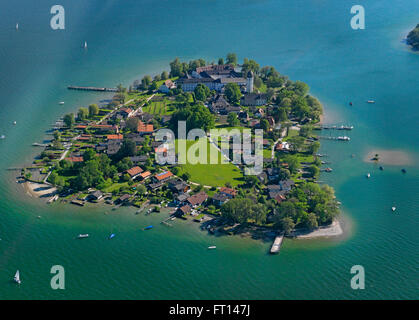 Aerial shot of Fraueninsel, lake Chiemsee, Bavaria, Germany - Stock Photo