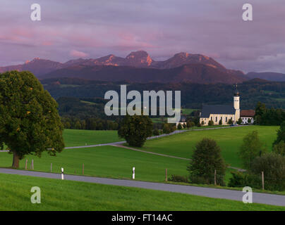 Church of Wilparting, Wendelstein in background, Irschenberg, Bavaria, Germany - Stock Photo