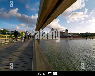 View along pier to Kurhaus, Binz, Ruegen, Mecklenburg-Western Pomerania, Germany - Stock Photo