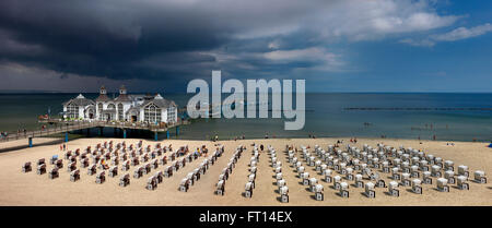 Stormy clouds above pier of Sellin, Ruegen, Mecklenburg-Western Pomerania, Germany - Stock Photo