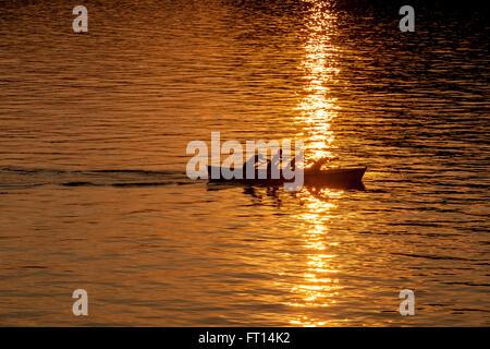 Rowing boat in evening sun, Torri del Benaco, Lake Garda, Verona, Veneto, Italy - Stock Photo