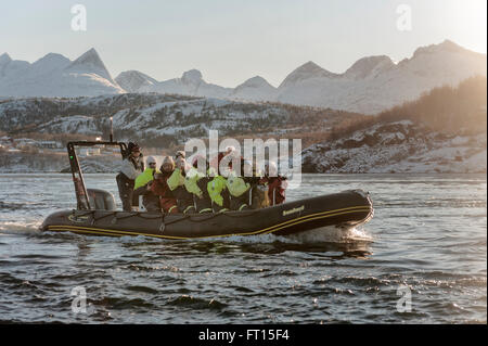Riding the Saltstraumen in a rigid inflatable boat. Bodø in Nordland county, Norway. Europe - Stock Photo