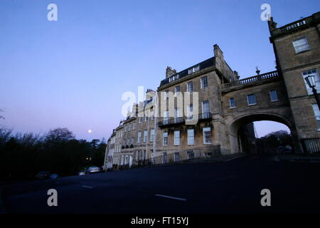 Early morning view of Georgian buildings in Bath, Somerset, UK - Stock Photo